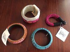 4x NWT Oxfam Ethnic Bracelets Silk, Paper & Glass Mosaic Bangles