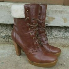 WOMENS FENDI BOOTS LEATHER SHEARLING  BROWN WITH HEEL SZ 9