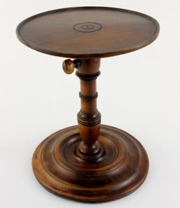 Georgian Fruitwood Adjustable Candle Stand. Antique Wood Candlestick. c1820