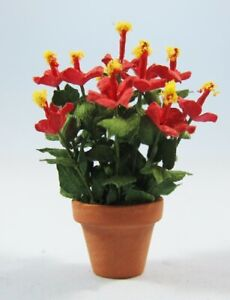 """1/2"""" Scale Hibiscus in a pot kit laser cut leaves and petals sdk miniatures LLC"""