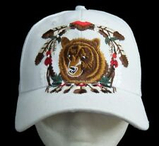 WHITE HAT BASEBALL CAP BEAR ANIMAL FEATHER INDIAN WIND CATCHER CASQUETTE