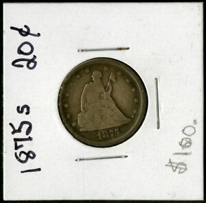 US Coin 1875 S Seated Liberty Silver 20c Piece NO RESERVE!