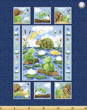 Paul & Sheldon Fishing Buddies SusyBee Cotton Quilt fabric Turtle Frog Panel BTY