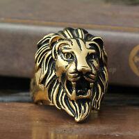 Men's Huge Vintage Gold Lion 316L Stainless Steel Biker Ring King Of Animal Head