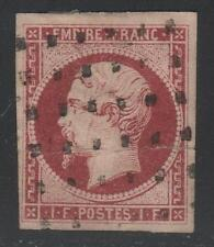 "FRANCE STAMP TIMBRE N° 18 a "" NAPOLEON III 1F CARMIN FONCE"" OBLITERE A VOIR K417"