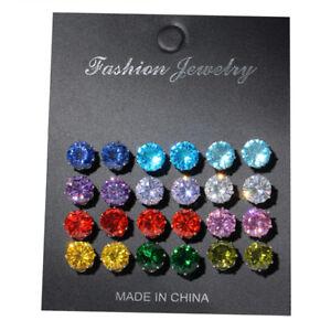 12 Pairs Rhinestone Crystal Stainless Steel Earrings Set Women Ear Stud Jewelry