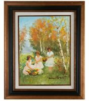 """Trois Femmes"" by Suzannet Demarest Framed Oil on Canvas 12"" x 16"" 1967 w/ CoA"