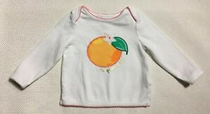 Kate Spade Top 68/6 Month White Orange Exsqueeze Me Long Sleeve Cotton New
