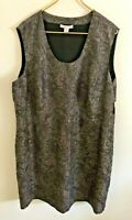 COLDWATER CREEK-NWT Women's Brown Damask Print Sleeveless Lined Dress-Size 22