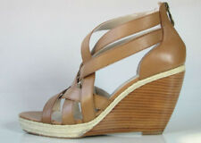 Tahari brown Leather Strappy Wedge Sandals Excellent Career cocktail Janice 7
