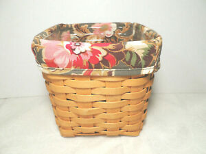 Longaberger Tall Tissue Basket Combo w Majolica Fabric Liner and Protector EUC