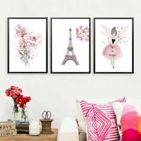 Girl Flower Canvas Painting Mural Wall Art Poster Print For Kids Room Wall Decor