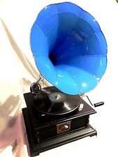 ANTIQUE GRAMOPHONE PHONOGRAPH STEEL TURQUOISE COLOR HORN SOUND BOX NEEDLE SET
