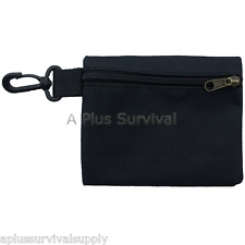 Small Multi Purpose Black Zipper Bag with Clip - First Aid Parts Survival Kits