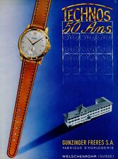 1951 Technos Watch Co 50 Year Anniversary Swiss Ad Publicite Suisse Montres