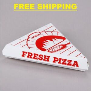 400 Case Choice White Clay Coated Paper Clamshell Pizza Slice Printed Box
