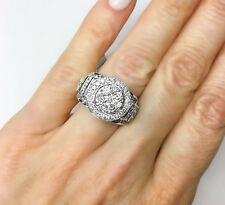 14K WHITE GOLD 3.12TCW DIAMOND ENGAGEMENT RING HALO CLUSTER ILLUSION CENTER