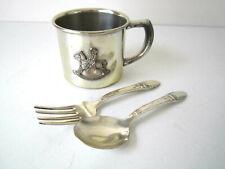 Vintage 1940's Children's Baby Benedict Cup & Rogers Fork & Spoon Set