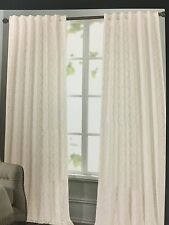 NEW TAHARI HOME SET OF 2 WINDOW PANELS DRAPES TAN / WHITE 52 X 96 MEDALLION