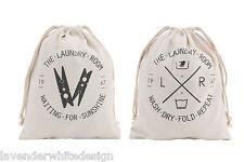 Coulisse CLOTHES Peg Bag - 100% COTONE TELA la sala per bucato Grigio Panna