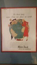 Framed White Rock On the Alkaline Side Mineral Spring Water Vintage Ad Globe