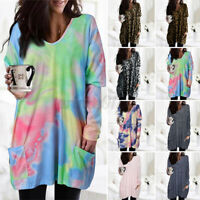 2021 Winter Womens Long Sleeve Jersey Tops Dress Jumpers Pullover Blouse Plus