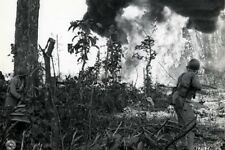 US Marine Flame Thrower Burns Japanese Pillbox 4x6 World War II WW2 Photo 62