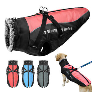 Dog Winter Coat with Harness Waterproof Large Pet Clothes Jacket Pibtull XL-6XL