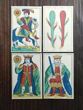 Playing Cards Lot (4) Spanish Naipes Coins, Spade, Club 1800s. 5 Hand Colors