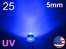 25pcs 5mm UV - Purple Straw Hat LED - Wide Ultra Violet Water Clear Diode - DIY