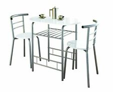 Modern High Gloss Dining Table Metal frame & 2 Chair Kitchen Tables Set