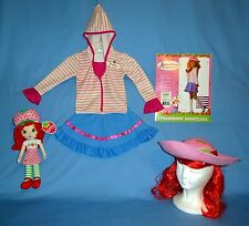 Strawberry Shortcake Costume girls 2-4; skirt;top;hat-wig;NW-plush rag doll-LOT