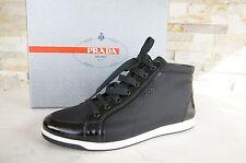 LUXUS Prada Gr 38,5 High Top Sneakers 3T5893 Schuhe schwarz neu ehem UVP 420 €