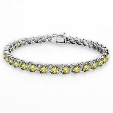 Citrine Tennis Bracelet with White Topaz Accents in Sterling Silver