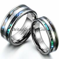 Tungsten Carbide Synthetic Abalone Shell Ring Men Women Engagement Wedding Band