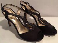 "Antonio Melani Black satin Rhinestone Open Toe Heels Size  9.5 Wedding 4"" EUC"