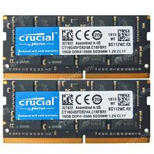 Crucial 32GB 2X16GB DDR4 2666Mhz PC4-21300S 260 Pin 1.2V NON ECC So-dimm Memory