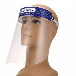 Full Face Shield Visor Airborne Protection Plastic Clear Foam Headband Anti Fog