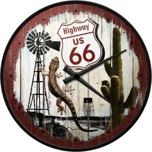 Highway Route 66 Desert Survivor- Wanduhr - 31 cm Durchm. mit Metallgeh.