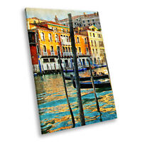 Retro Colourful Venice Boat Portrait Scenic Canvas Wall Art Large Picture Prints