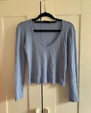 100% Wool Baby Blue 'Kookai' Original 1990's Cropped V Neck Jumper - M - As New!