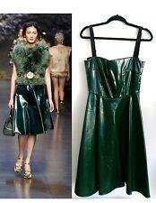 DOLCE GABBANA NWT SS14 WET LOOK GREEN DRESS US SZ 8 IT SZ 42 $1885