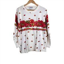 Vintage B.G. Basics 80s long sleeve shirt womens large rose pattern
