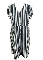 Tu Blue Stripe Nautical Button Down Smart Work Office Shirt Dress Size 18 nwt