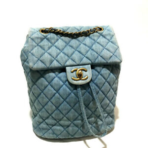 CHANEL CC Matelasse Backpack-Bag Light Blue Denim/Canvas A91121