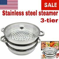 3 Tier Stainless Steel Steamer Steaming Glass Lid Cooker Pot SET Cookware 28cm