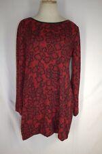 M&S COLLECTION Knit Dress Size UK 14 US 12 Red Black Snake Print Shift Stretch