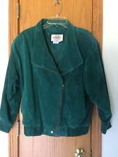 Vintage MIDWEST CLOTHING COMPANY Green Suede Leather Asymmetrical Zip Jacket S