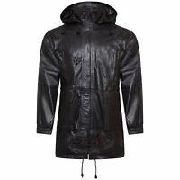 Mens Real Leather Black 3/4 Long Toggle Jacket Detachable Hood Duffle Retro Coat