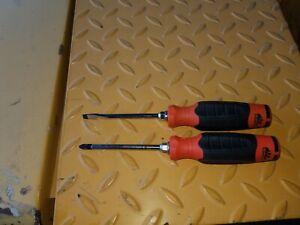 "NEW Mac tools slotted & philips 4"" orange screwdrivers PB2042CO-S PNRB4CO-S USA!"
